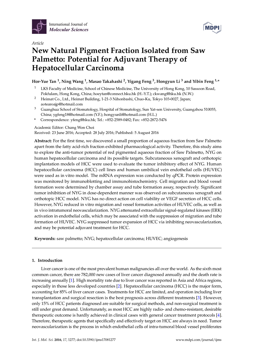 Potential of Pigment from Saw Palmetto for Adjuvant Therapy of Hepatocellular Carcinoma P1